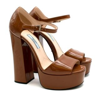Prada Brown Patent Chunky Heel Platform Sandals