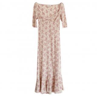 Luisa Beccaria floral sweetheart silk crepe de chine dress