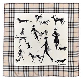 Burberry dog walk silk check trim scarf