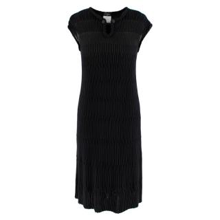 Chanel Black Pleated Chain Detail Button Neck Dress