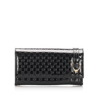 Gucci Nice Microguccissima Black Patent Leather Zip Around Wallet
