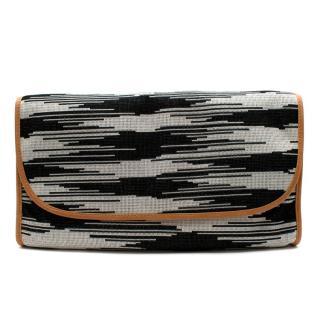 M Missoni Black & White Woven Large Clutch