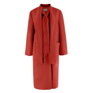 Gucci Red Tie Collar Longline Wool Coat