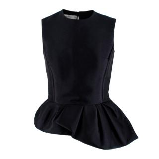 Christian Dior Black Asymmetric Peplum Sleeveless Top
