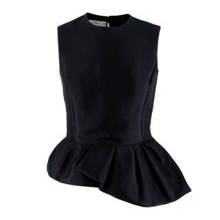 Christian Dior Black Asymmetric Peplum Sleeveless Top