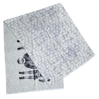 Chanel grey astronaught print cashmere stole