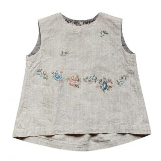 45R sleeveless floral hessian cotton top