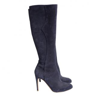 Rupert Sanderson navy suede pointed knee high boots