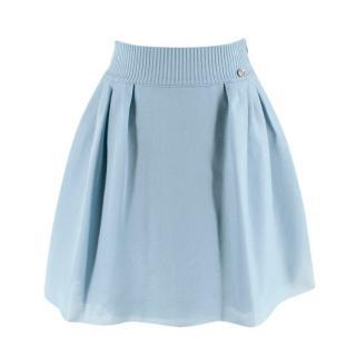 Chanel Duck Egg Lurex Pleated Skater Skirt