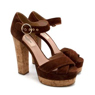 Valentino Cork Brown Suede Block Heel Sandals
