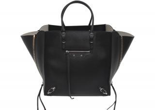 Balenciaga black leather papier A5 tote