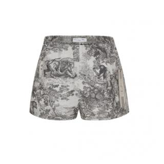 Dior Gray Toile de Jouy Technical Taffeta Shorts