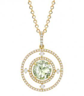 Kiki McDonough Apollo Large Green Amethyst and Diamond Pendant