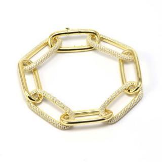 Idandi Gold Plated White Crystal Embellished Chain Link Bracelet