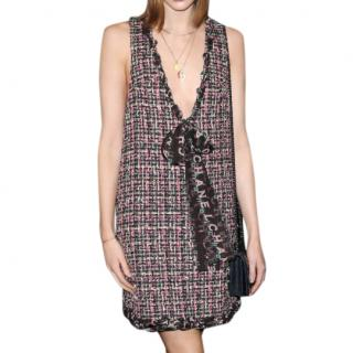 Chanel Pink Boucle Tweed Bow Detail Mini Dress