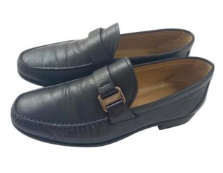 Bally navy leather loafers