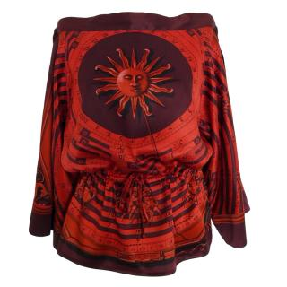 Hermes Red Astrological Print Tunic