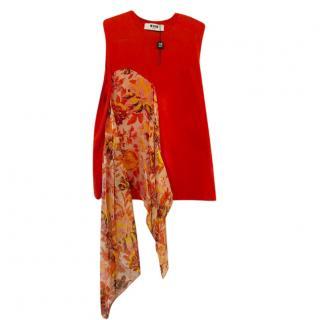 MSGM Red Silk Scarf Applique Sleeveless Top