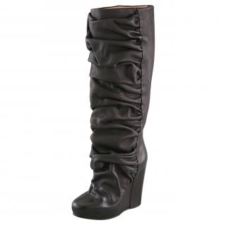 Maison Margiela Black Ruched Leather Wedge Boots