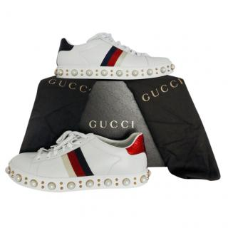 Gucci Faux Pearl Studded Ace Sneakers