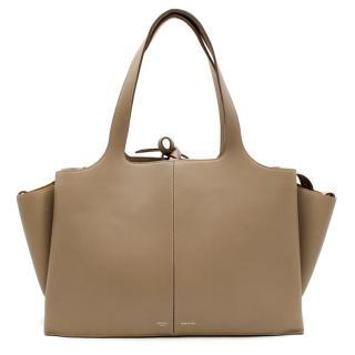Celine Taupe Leather Tri-Fold Bag