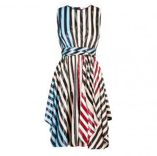 Diane Von Furstenberg Striped Metallic Carrington Dress