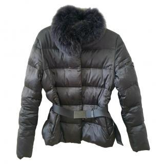 Prada Black Down Fox Fur Trim Jacket
