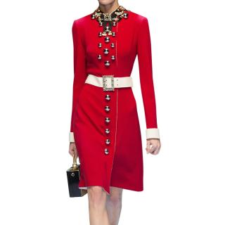 Dolce & Gabbana Red Embellished Runway Coat Dress