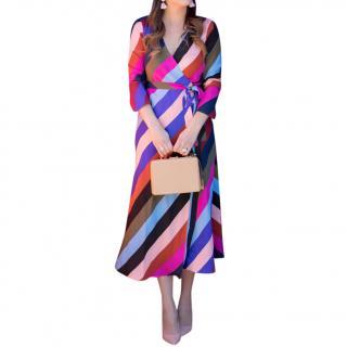 Diane von Furstenberg multicoloured stripe silk dress