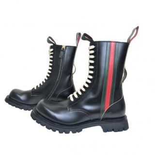 Gucci Cordovan black leather boots