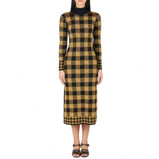 Temperley gold & black gingham fine knit dress