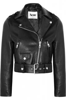 Acne Mape cropped black leather biker jacket