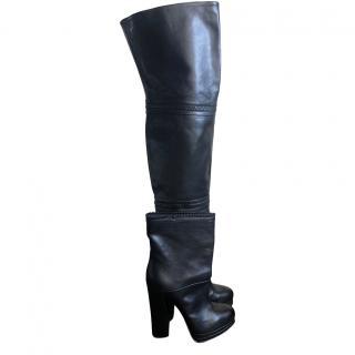 Casadei zipper detail leather black heeled boots