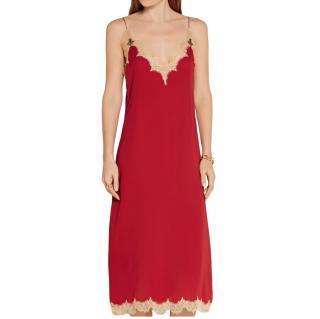 Gucci Claret Lace-trimmed silk midi dress