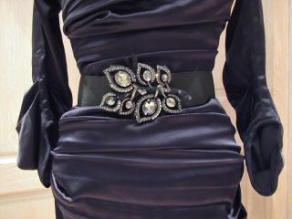 Lanvin Swarovski black & silver crystal brooch & belt set