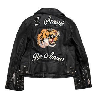 Gucci Kids Black Embroidered Leather Biker Jacket