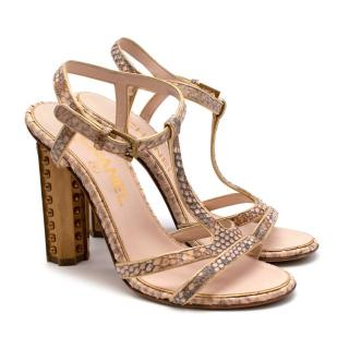 Chanel T-Strap Nude Python Heeled Sandals