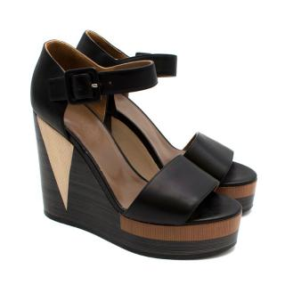 Hermes Brown Colour block Leather Wedges