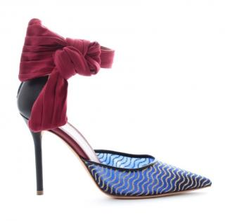 Malone Souliers Elle royal blue & red pointed toe heels