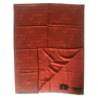 Emporio Armani red logo print scarf