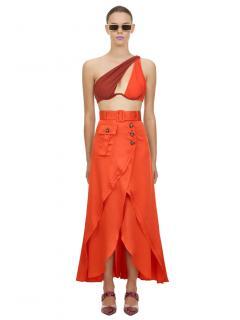 Self Portrait Asymmetric Orange Midi Skirt