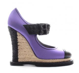 Bottega Veneta satin purple wedge sandals