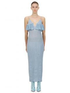 Self Portrait Blue Lurex Knit Midi Dress