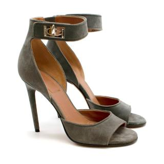 Givenchy Grey Suede Shark Lock Stiletto Sandals