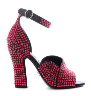 Prada red Swarovski crystal open toe block heeled sandals