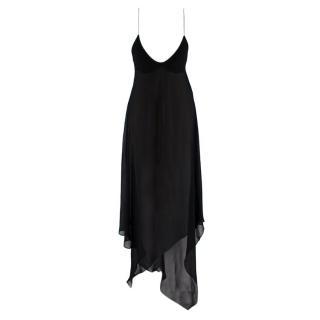 Saint Laurent Sheer Black Asymmetric Sleeveless Dress