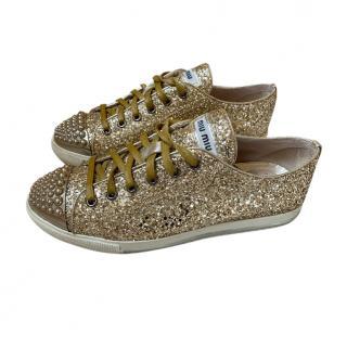Miu Miu gold metallic glitter embellished trainers