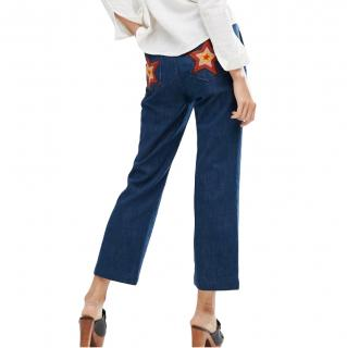 MIH cropped flared blue denim jeans