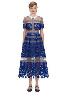 Self Portrait Blue Liliana Midi Dress