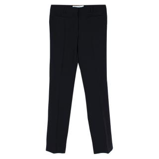 Christian Dior Black Silk Straight leg Pleat Trousers